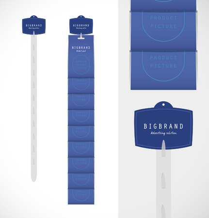 Vector advertising strip template with product packs and header