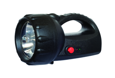Black plastic LED torch isolated