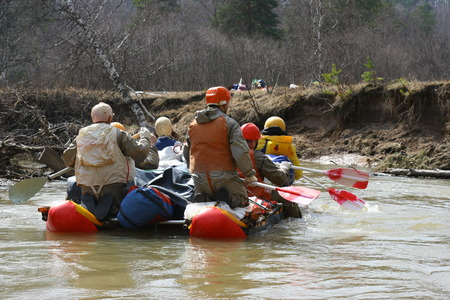 Rafting on Russian river Imagens