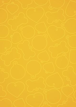 Yellow vectorized pet tags background Ilustração