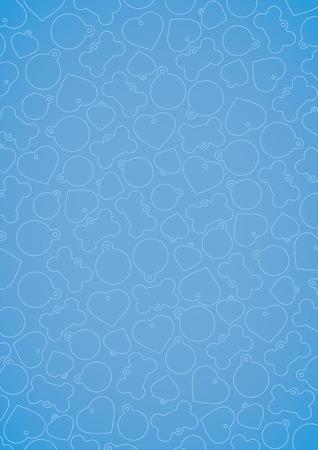 Blue vectorized pet tags background Ilustração