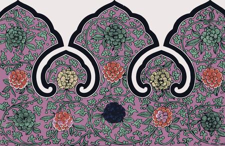 Vectorized grunge traditional Chinese floral ornament Ilustração