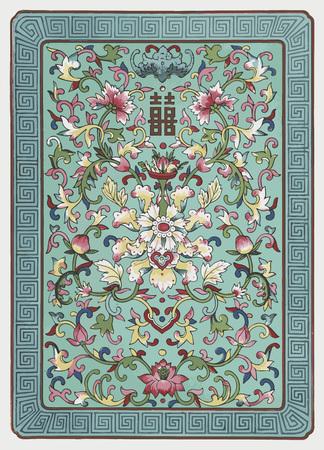 flores chinas: grunge vectorizado tradicional china ornamento floral