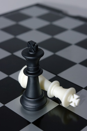 The kings - Victory. Black king won. Stock Photo