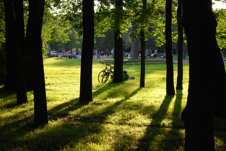 Unrecognized couple is resting with their bikes left among the trees in the sunlit green park Stock Photo