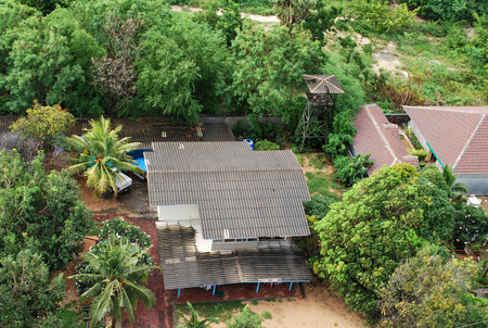 Aerial view of a typical residential housekeeping in Pattaya, Thailand Banco de Imagens