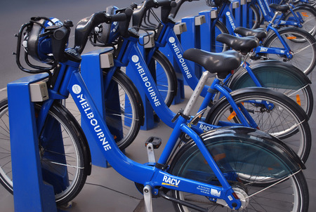 Melbourne, Australia - March 20, 2016: Row of Melbourne share bikes.  Bike renting system is created to provide people with an additional transportation option. Editorial