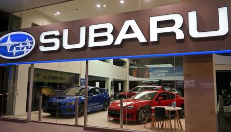 Sydney, Australia - October 15, 2017: Subaru dealership on Forbes Street. Subaru is the automobile manufacturing division of Japanese transportation conglomerate Subaru Corporation.