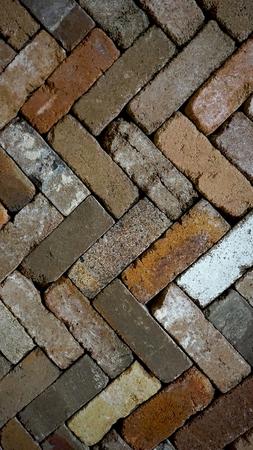 Diagonal zigzag pattern brick vertical background Banco de Imagens