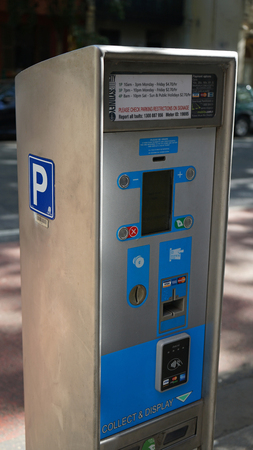 Close-up of parking pay and display card payment cash on Albion street Editorial