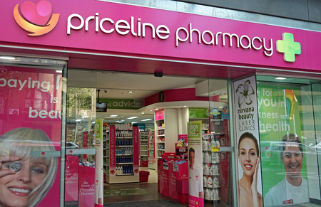 Sydney, Australia - October 17, 2017: Priceline Pharmacy store on Oxford st. Priceline is one of the largest Australian health and beauty retailers, owned and operated by Australian Pharmaceutical Industries.