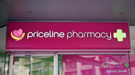 Sydney, Australia - October 17, 2017: Priceline Pharmacy sign above the entrance to the drug store on Oxford Street in Sydney CBD.