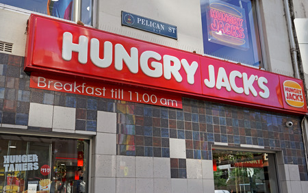 Sydney, Australia - October 17, 2017: Hungry Jacks fast food restaurant exterior of the store located Oxford St & Cnr Pelican Street. Hungry Jacks is the exclusive Australian fast food franchise of Burger King Corporation. Editorial