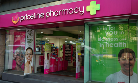 Sydney, Australia - October 17, 2017: Priceline is an Australian health and beauty retailer with more than 300 stores, including this store on Oxford Street in Sydney CBD.