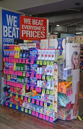 Sydney, Australia - October 17, 2017: Chemist Warehouse discount retail pharmacy (drug store) interior with product shelves.