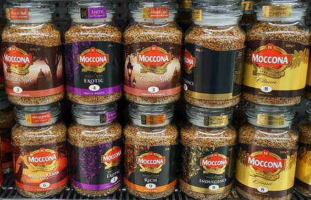 Sydney, Australia - October 17, 2017: Moccona coffee jars on display in a grocery store. Moccona is a brand of coffee produced by the Dutch corporation JACOBS DOUWE EGBERTS (JDE).