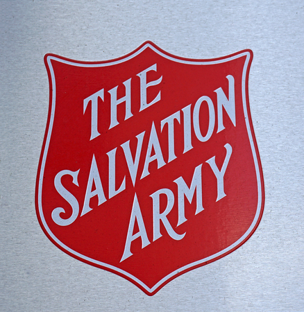 Sydney, Australia - October 17, 2017: The Salvation Army Logo sign at one of help centers. The Salvation Army is an organization providing services to disadvantaged people in the community.