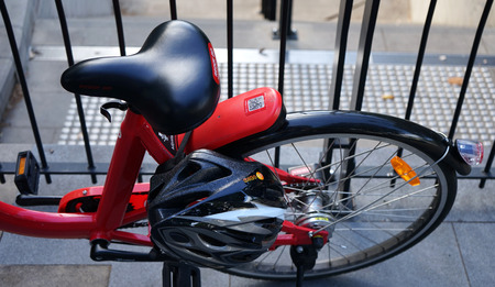 Detailed view of a bike seat and back wheel from above. Sydneys Reddy Go bike-sharing service offers bicycles for rent.