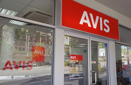 Sydney, Australia - October 17, 2017: Avis car rental office. Founded in 1946, Avis is an American leading rental car provider to the commercial segment serving business travelers. Editorial
