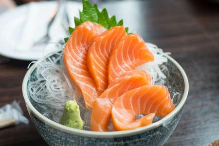 Fresh salmon sashimi Stock Photo