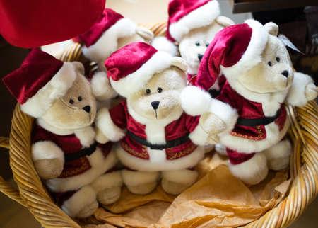 Teddy bears in Santa Claus suit
