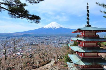 Mountain Fuji with pagoda