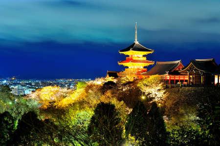 Pagoda in Kiyomizu temple at night time