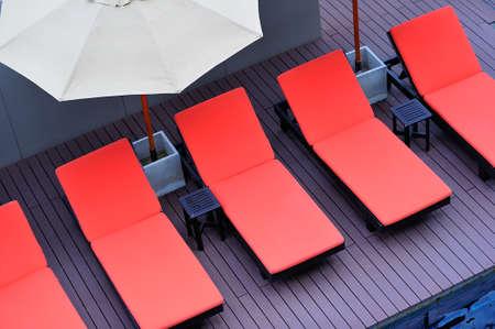 Orange Beach chairs Stock Photo