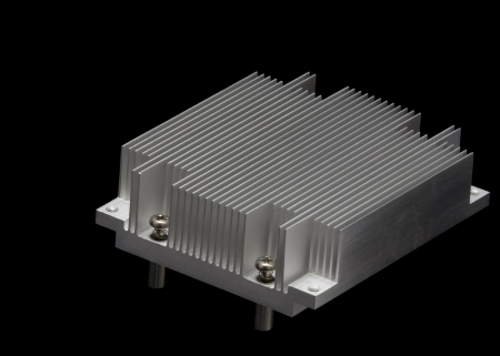Aluminum radiator for the CPU isolated on black background photo