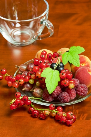 black currants: Raspberries, gooseberries, apricots, red and black currants - beautiful summer berries on a plate Stock Photo