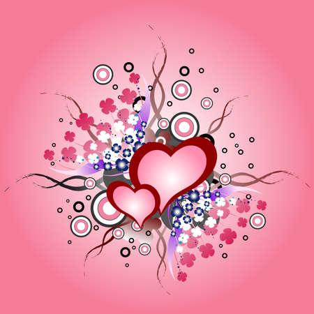 Grunge valentine hearts Vector