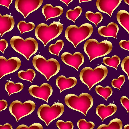 Seamless vector texture with hearts.