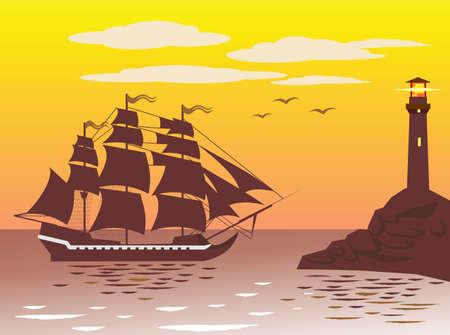 columbus: Fragata es llegar a un puerto cerca del faro.