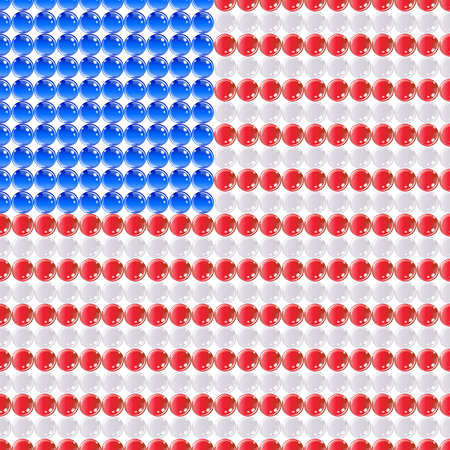 Flag USA United States of America made of leds or bubbles. Vector