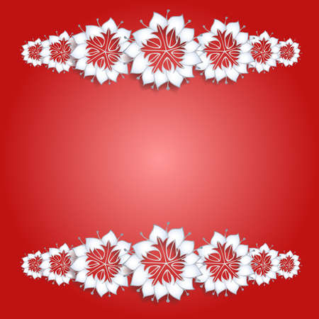 White flowers on red background Vector