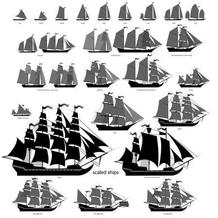 galleon: Vector ships set with separate editable elements. Illustration