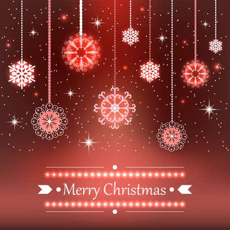 bright: Christmas snowflakes hangin on. Bright decoration design Illustration