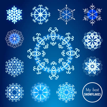 rime frost: Decorative snowflakes set. Suitable for winter holidays design.