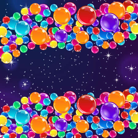 marriage night: Color balloons on starry night background. Funny and positive illustration.
