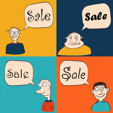 talk show: Men with speech bubbles. Sale and promotion. Advertising vector illustration.
