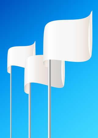 surrendering: Blank white flag. Blue sky. Vector illustration