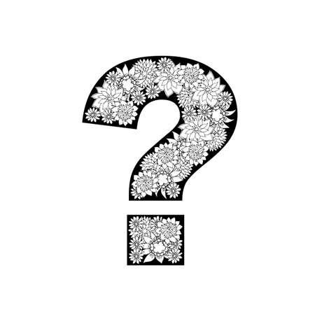 point d interrogation: character design noir n blanc. �l�ments dessin�s � la main. Illustration