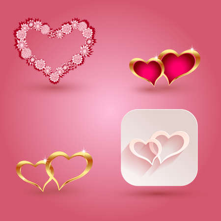valentine s day: Hearts and icon elements for valentine s day or weddings.