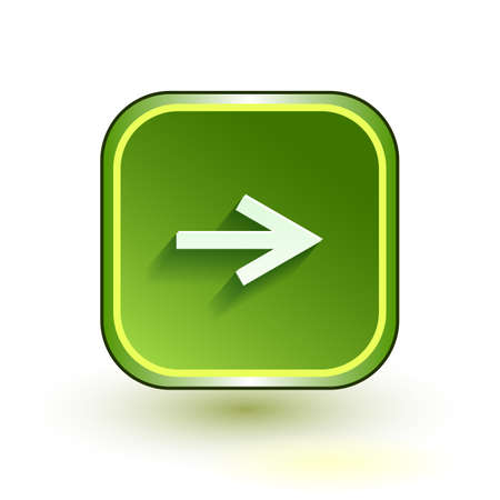 net bar: Green web button with arrow right sign. Rounded square shape icon with shadow on white background.