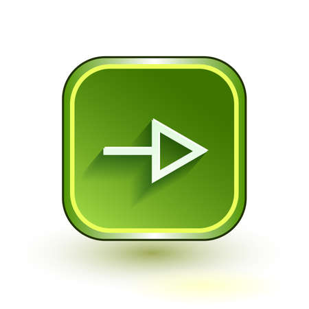 Green web button with arrow right sign. Rounded square shape icon with shadow on white background.