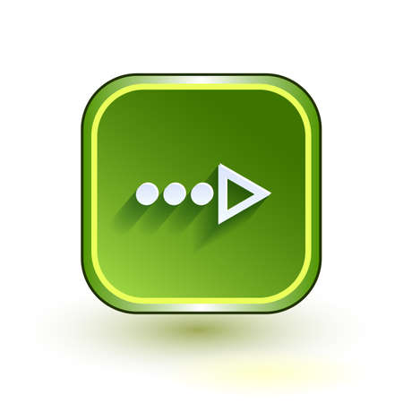 net bar: Green web button with arrow right sign. Rounded square shape icon with shadow on white background