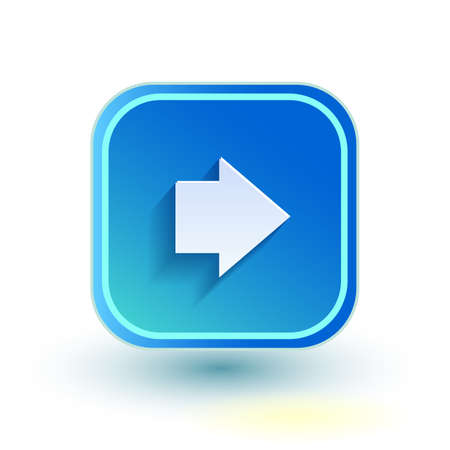 net bar: Blue web button with arrow right sign. Rounded square shape icon with shadow on white background.