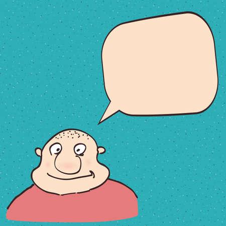 Cartoon funny man talking.