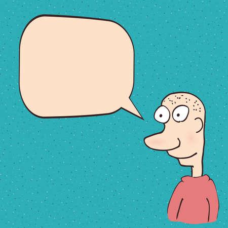 help me: Cartoon funny man talking Illustration
