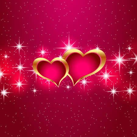 Love star night background beautiful bright hearts Illustration